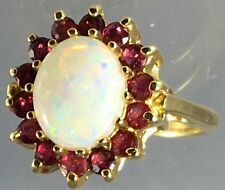 Vintage Australian Natural Opal Ruby Halo 14k Yellow Gold Estate Ring Size 7