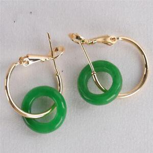 Natural Ring Green jadeite Gemstone Earring 18KGP Dangle Real Aurora AAA