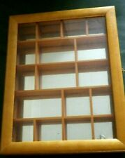 WOODEN PINE THIMBLE DISPLAY RACK CASE HOLDER CABINET BOX GLASS FRONT 31CM X 24CM