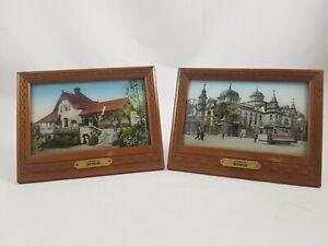 """2 x Antike Holz Bilderrahmen """"Andenken an Dortmund"""" Glas Gewölbt R8RB"""