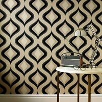 Superfresco Easy Paste the wall Trippy Retro 60'S Charcoal Wallpaper