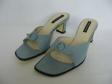 Claudia Ciuti Italy light blue leather sandals slides buckles 7 N narrow women's