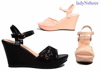 NEW Open Toe Buckle  Wedge Heel Platform Women's  Sandal Shoes Size 5.5 - 11