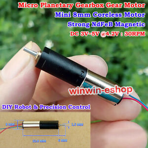 Micro 8mm Coreless Planetary DC 3V~5V 30RPM Mini Precision Gearbox  Gear Motor
