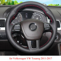 DIY Steering Wheel Cover Black Leather Hand Sewing For VW Touareg 2011-2017