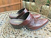 Road Wolf Women's 7M Leather Western Cowboy Mules Brown Slip On Shoes $169 EUC!
