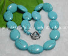 "Natural 18X25mm Blue Turquoise Oval Gems Beads Necklaces 18"" JN758"