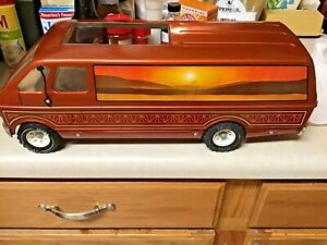 1976 Tonka Desert Custom Camper Van 3985 Sliding Door Pressed Steel Orange RARE