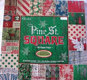 Pine St. Square 12x12 Premium Cardstock Christmas Scrapbooking Paper, 60 Pages