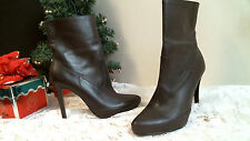 KRISTIN DAVIS Mid Calf boots BROWN size 7 M heels LEATHER