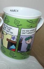 Danbury Peanuts Snoopy calendar March cups mugs coffee tea hot chocolate