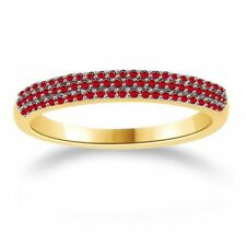 1/4 Ct Round Cut Ruby Yellow Gold Over Anniversary Band