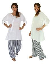IA100W Leinen Tunika Hemd Vintage Bluse Kurzarm Oversize weiß Gr. 38 40 42 44