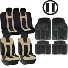 16PC BEIGE & BL DBL STITCH SEAT COVERS & RUBBER FLOOR MATS SET FOR CARS 1023