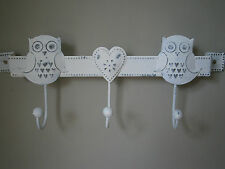 WHITE METAL TRIPLE HOOKS FOR KEYS JEWELLERY VINTAGE CHIC & SHABBY OWL & HEART