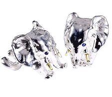 ELEPHANTS CUFFLINKS, SILVER,14K GOLD TUSK, BLUE TOPAZ EYES. G.DANILOFF&CO.