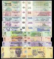 CONGO set 10 Pcs 10,20,50,100,200,500,1000,5000,10000,20000 Francs 1997-2013 UNC
