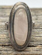 Vintage Sterling Silver Rose Quartz Oblong Cabochon Ring Size 6.75 Unsigned