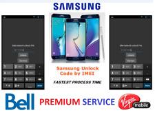 Bell /Virgin Premium service unlock Code for All Samsung Models (S & NOTE SERIES