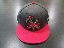 New Era Miami Marlins Hat Cap Fitted Size 7 5/8 Gray Pink MLB Baseball Mens