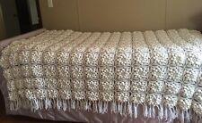Hand Knit Crochet Knit White POPCORN Snowflake Bed Cover Spread Twin/Full EUC