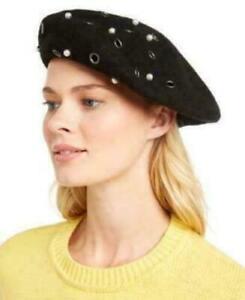Women's August Hats Grommet/Pearl Embellished Wool Blend Beret, Black OSFM
