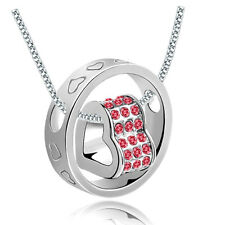Fashion Women Heart Red Crystal Charm Pendant Chain Necklace Silver DIY NEW CD02