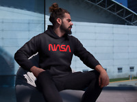 NASA Worm Red Logo Hoodie Space Astronaut Retro Style Vintage Sweatshirt Black