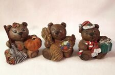 Bear Figurines Month Season Holiday Fall Pumpkin Thanksgiving Christmas Set of 3