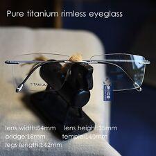 Titanium rimless Eyeglasses matte silver glasses Mens optical RX lens unisex