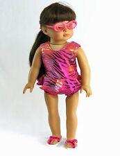 Pink Metallic Zebra Bathing Suit Fits 18 inch American Girl Dolls
