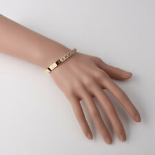 Gold plated Oval Band with Demi moving Cubics pave settings cuff bracelet