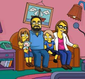 Custom Family Portrait Personalised Simpsons Sofa Cartoon Drawing in A4 Frame