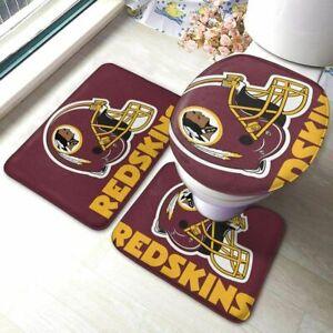 Washington Redskins 3PCS Bathroom Set Rug Bath Mat Toilet Lid Cover Contour Mat