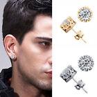 10mm Men Women Sterling Silver Post Stud Crown Cubic Zirconia Earrings Gift Box