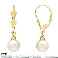 14k Yellow Gold 7mm Freshwater Cultured Pearl Dangle Earrings