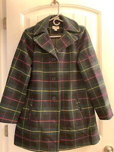 Joan Rivers Button Front Plaid Swing Coat - Green/Black Plaid - XSmall