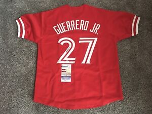 VLADIMIR GUERRERO JR SIGNED  AUTO RED JERSEY  TORONTO BLUE JAYS JSA AUTHENTIC 🔥