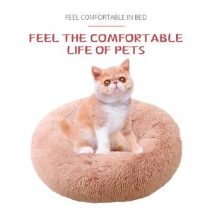 Pet Bed Cat Dog Donut Nest Calming Mat Soft Kennel Washable Bed 60X60CM Pink Big