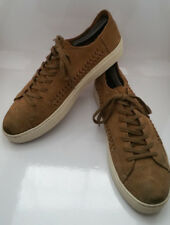 TOMS Lenox Sneaker Shoes Mens 10 Brown Tan Toffee Suede Leather Lace Up Trainers