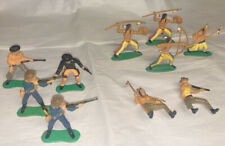 VINTAGE PLASTIC PAINTED COWBOYS AND INDIANS LOT OF 10 VARIOUS POSES & COLORS