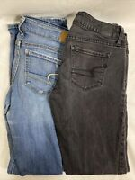 Lot Of 2 Womens American Eagle Distresses Skinny Jeans Size 6