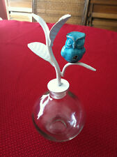 New Set of 2 Home Goods Blue Owl White Leaf Glass Owl Bottle Container Jar