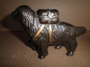 Wonderful old original cast iron St. Bernard Dog still bank 1905 - 1930's