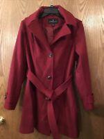 London Fog Womens Wool Blend Walker Coat Jacket Belted Hooded Medium Red