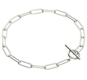 """925 Sterling Silver Paperclip Chain Bracelet  7.5"""" inch"""