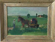 """EXPRESSIONIST PER SIGFRID BENGTSSON *1898 """"Mädchen auf einem Pferdewagen"""""""