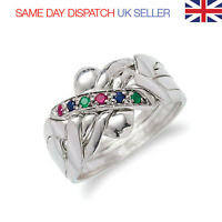 Puzzle Ring - 5 Bands Sterling Silver 925  With Ruby Emerald Sapphire