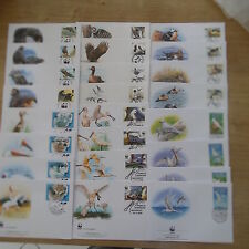 LOT TIMBRE ANIMAUX OISEAUX WWF 5  SERIES COMPLETES FDC / WWF STAMPS BIRDS