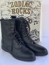 "Brand New ZODIAC ""Rocker"" Black Leather Lace Up Combat Ankle Boots Women's 10"